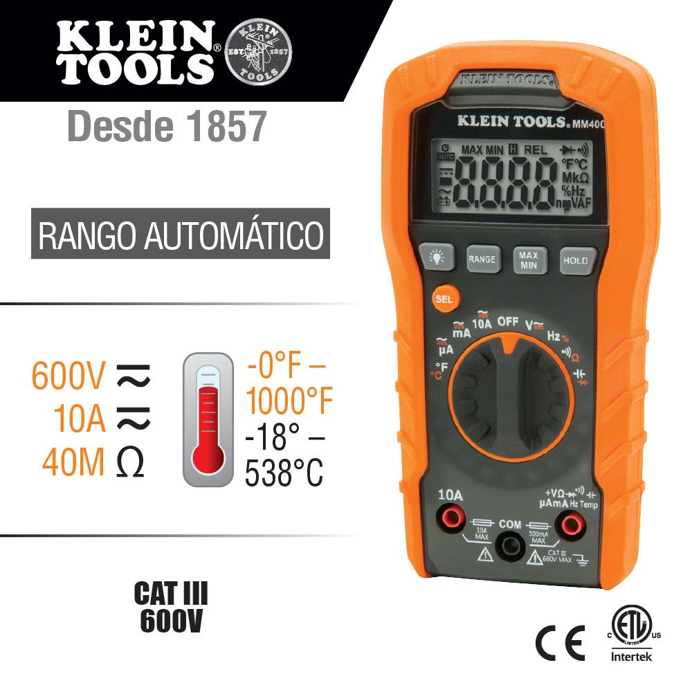 MULTIMETRO DIGITAL 600V RANGO AUTOMATICO Y TEMPERATURA KLEIN TOOLS