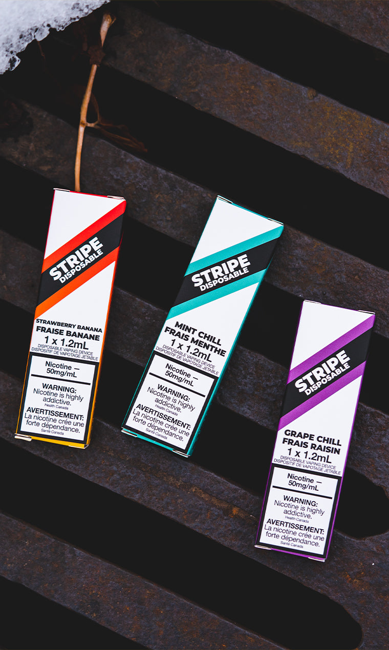Stripe Disposable, Grape Chill, Mint Chill, Strawberry Banana