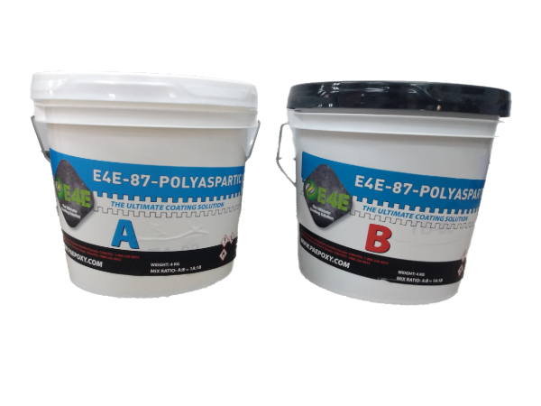 E4E-87-Polyaspartic-Low Oder VOC Compliant-UV Stable Topcoat-2 Gallon Kit.