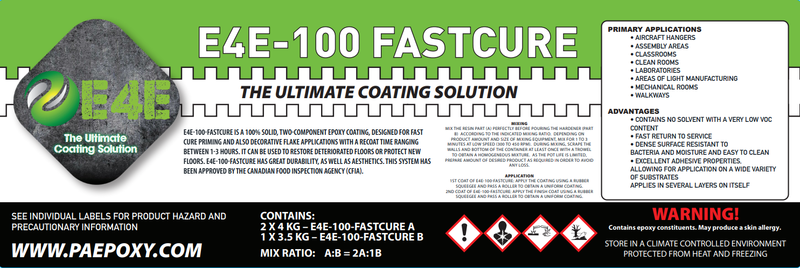 E4E-100-Fastcure Epoxy-Two Component Fast Cure For Flake And Metallic-3 Gallon Kit