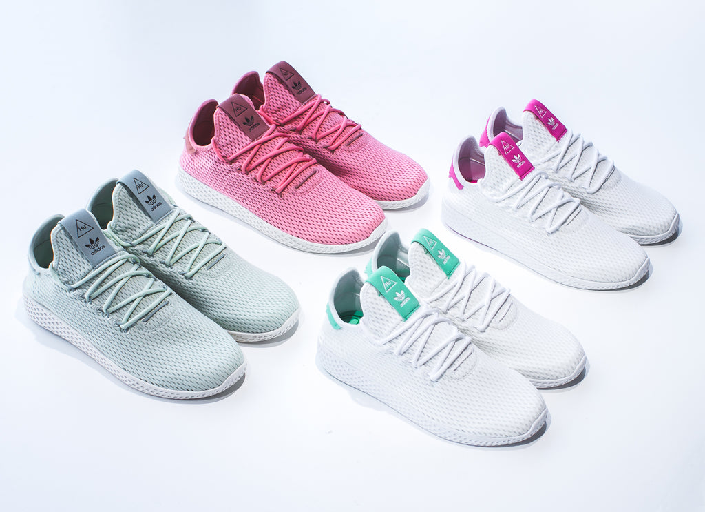 release date: 85725 835fa Click here to purchase the White  Raw Pink Tennis HU on our Solestop  website once live. Pharrell Williams x Adidas Originals Tennis HU in Tactile  ...