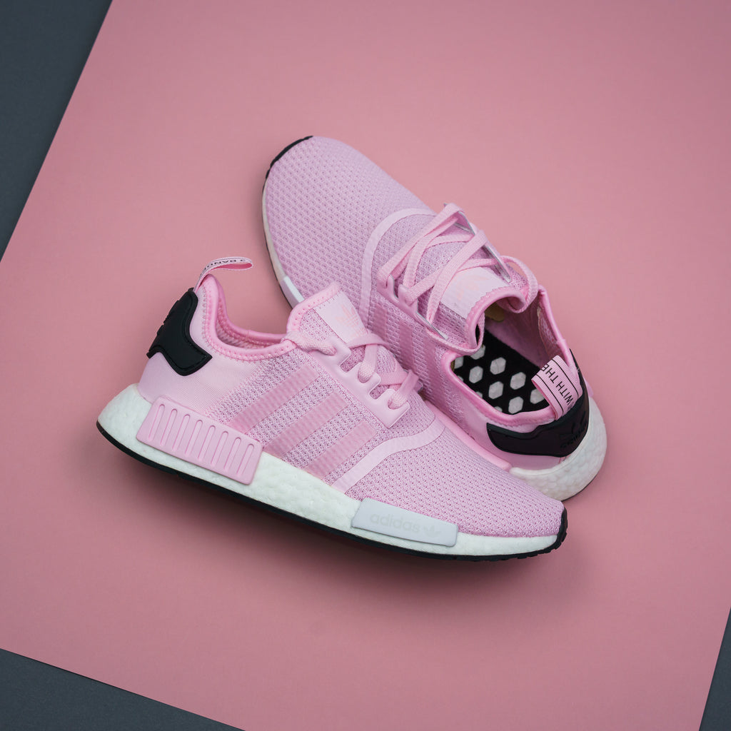 8d9cbe36f4fa2 Adidas Originals NMD R1 Boost Pink White - (B37648). Price   170. Available  Sizing  5-9 US WOMEN S. Click Shop Now when the release is available!