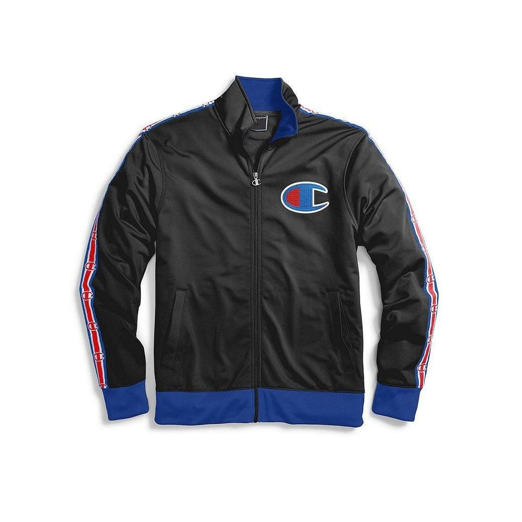 "OUTERWEAR - Champion Track Jacket Chain Stitch On Felt ""C"" Black Surf The Web Men V3377-549870-HHT"