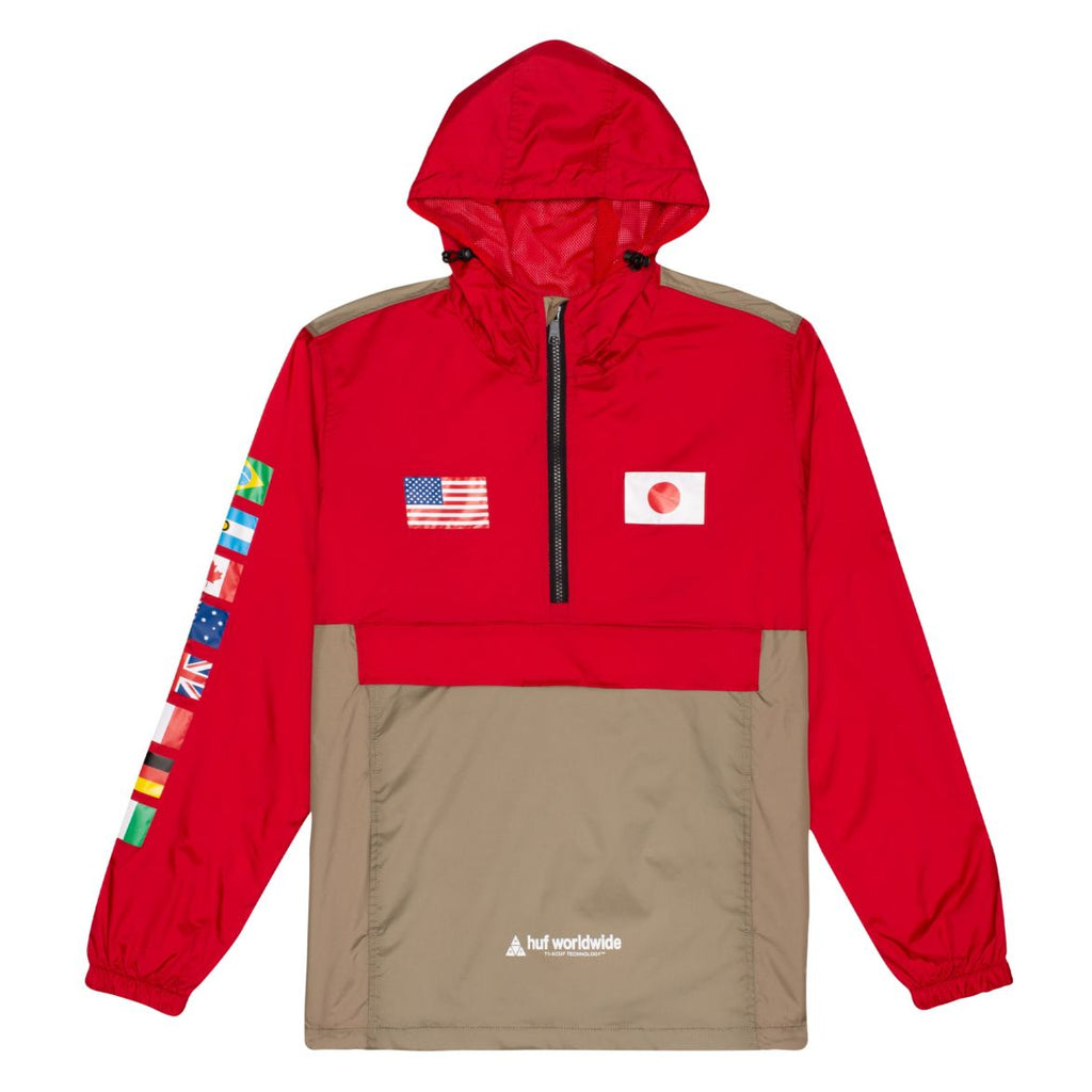 OUTERWEAR - Huf Men Flags Anorak Jacket Cyber Red JK00274-RED