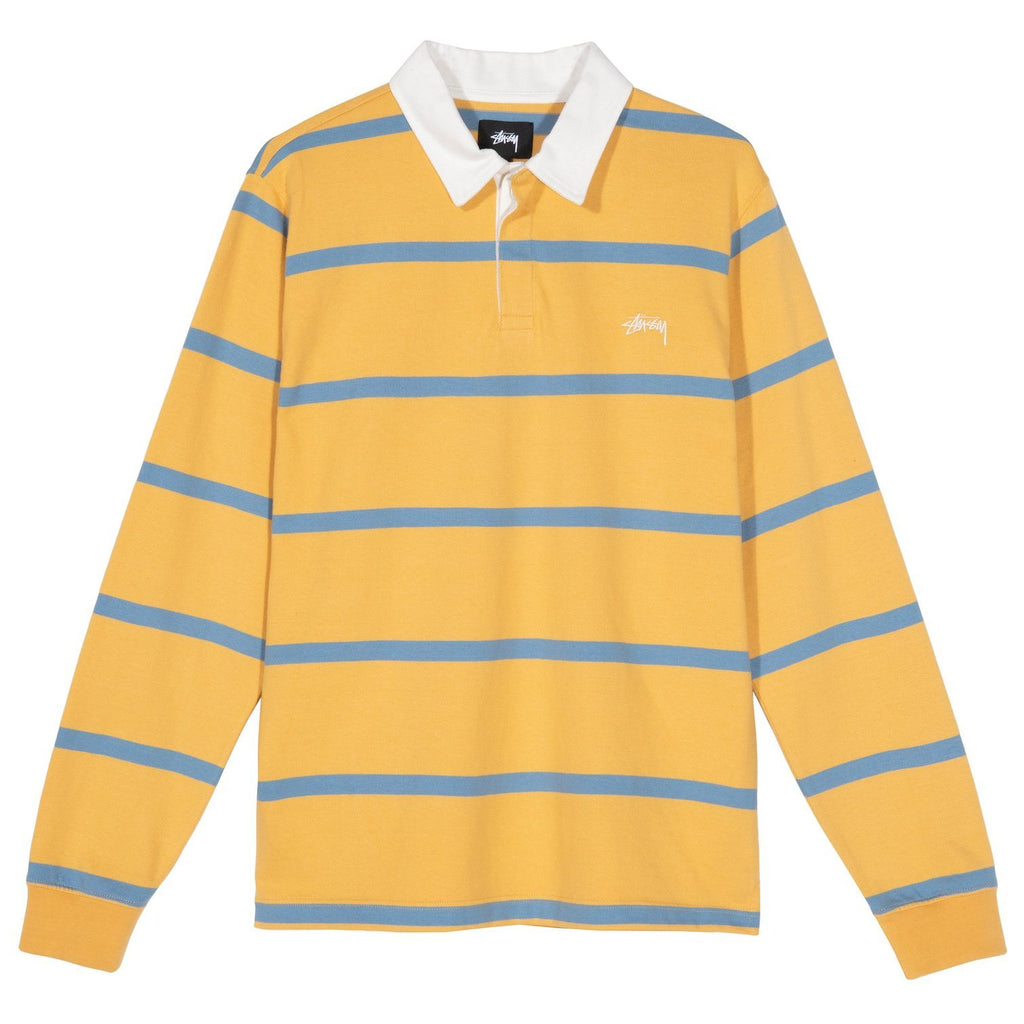 TOPS - Stussy Men Hill Stripe LS Rugby Gold 1140209-GOLD