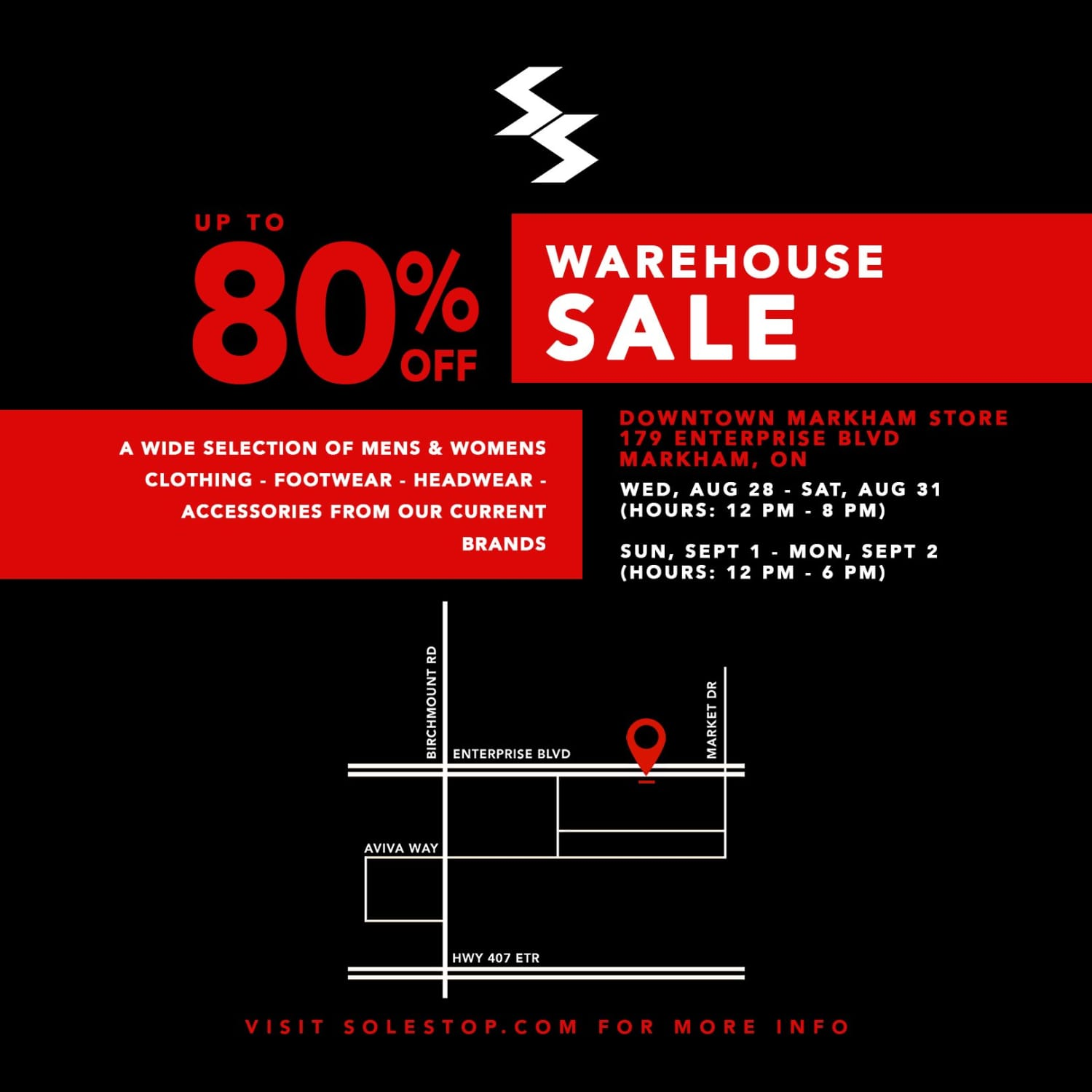 SOLESTOP WAREHOUSE SALE - Up to 80% off EVERYTHING in-store!