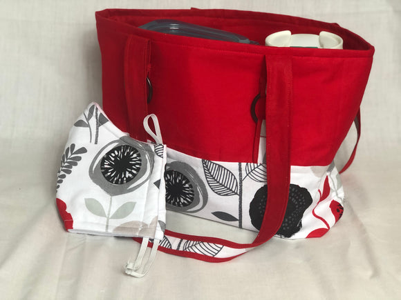 Red and white flower tote bag & matching mask