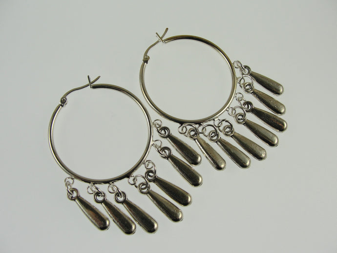 Silver Hoop Earrings with Pewter Dangles