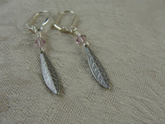 Pewter Feather and Swarovski Crystal Earrings