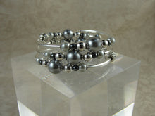 Load image into Gallery viewer, Gray Pearl and Silver Wrap Bracelet