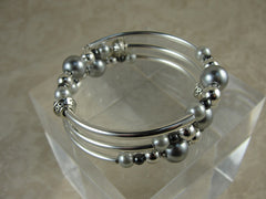Gray Pearl and Silver Wrap Bracelet