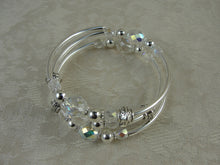 Load image into Gallery viewer, Silver and Crystal Wrap Bracelet