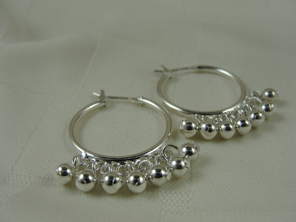 Silver Hoops with Silver Dangles