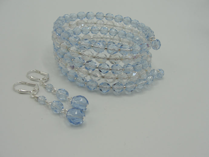 Light Blue Crystal Wrap Bracelet and Earring Set
