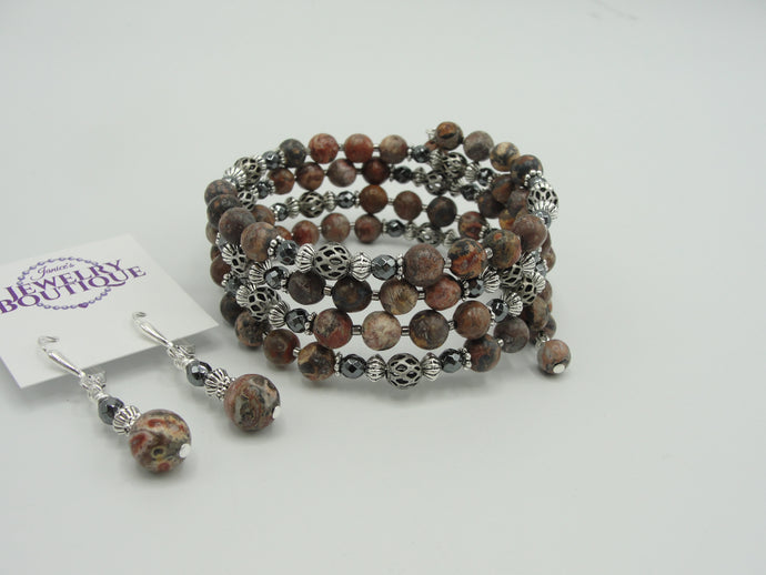 Jasper Wrap Bracelet and Earring Set