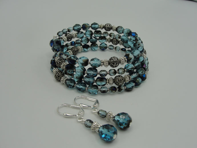 Teal Crystal Wrap Bracelet and Earring Set
