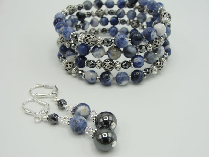 Blue Stone Wrap Bracelet and Earring Set