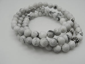 Set of Three  White Howlite Stretch Bracelets