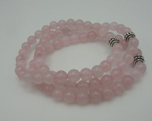 Set of Three Rose Quartz Stretch Bracelets