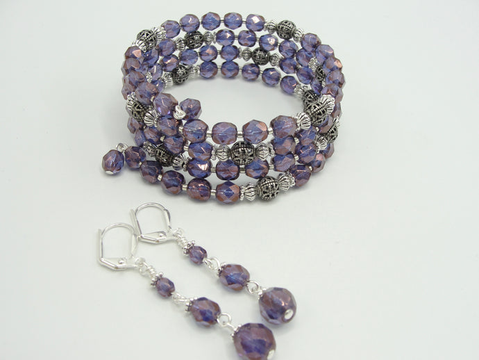 Purple Crystal Bracelet and Earring Set