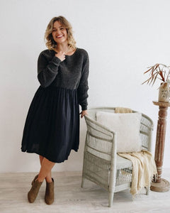 Away Knit Dress | Charcoal