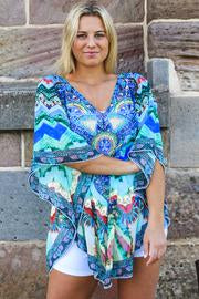 Blue Waves Chiffon Bohemian | Kaftan