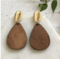 Wooden Teardrop & Gold Sea Shell Earrings