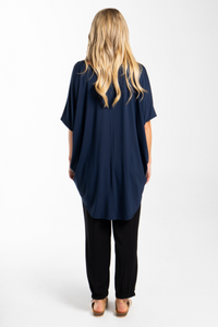 PQ Collection Navy Short Sleeve Hi Low Miracle Top
