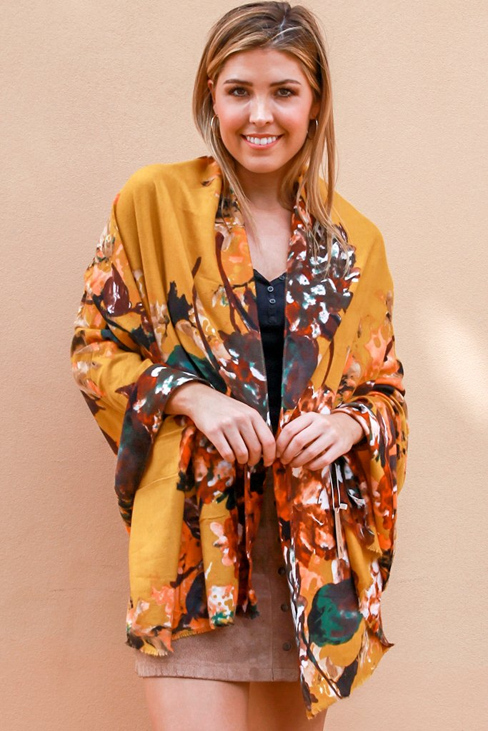 Becca Mustard Floral | Scarf