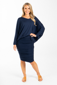 PQ Collection Navy Long Sleeve Hi Low Miracle Top