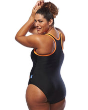 Load image into Gallery viewer, Racer Back Black / Orange Bathers | Swimwear