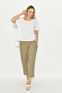 Khaki Linen Tapered Women's Casual | Pant