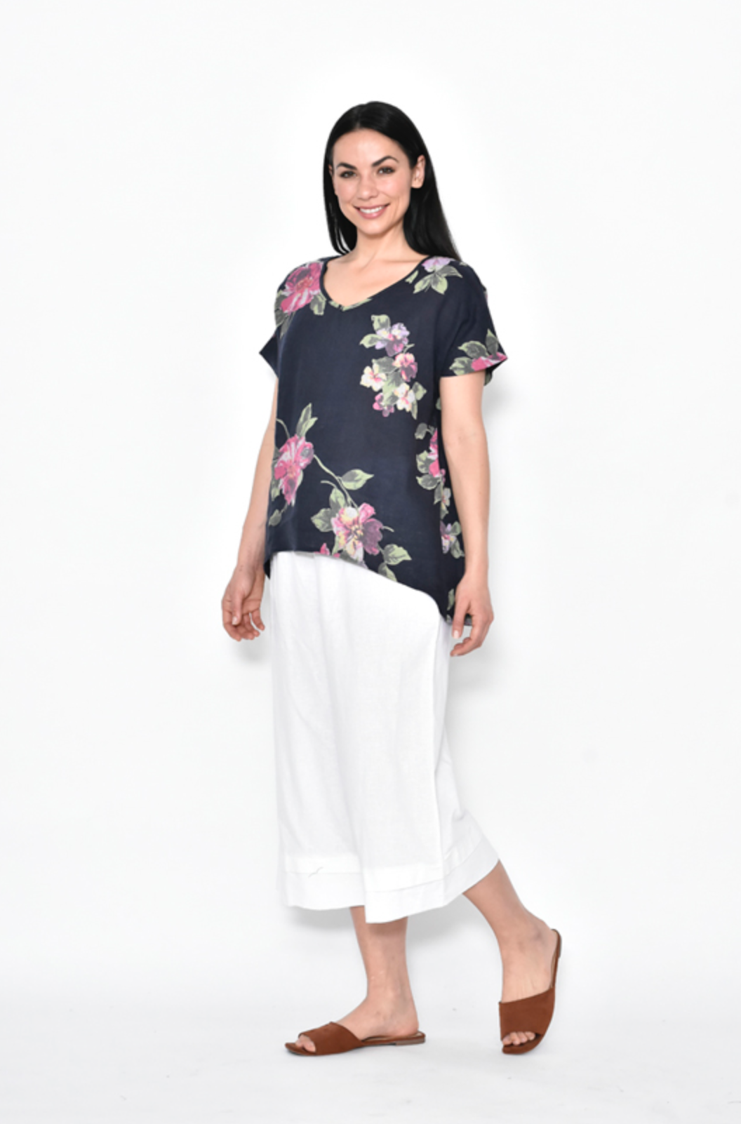Linen Floral Curved Hem | Top - DON'T MISS OUT 1 LEFT