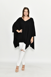 Cali & Co Black Boxy Warm Knit Tunic Top