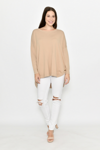 Camel Curved Hem & Button Detailing Knit | Jumper