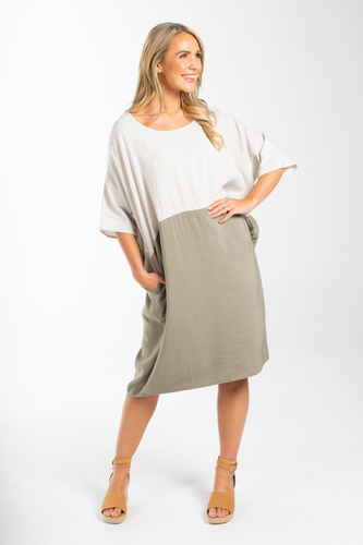 PQ Collection Sand / Olive Block Dress