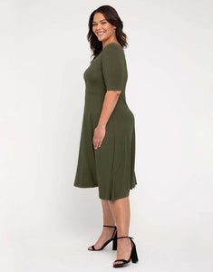 Bamboo Harmony Dress in Dark Olive