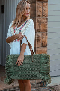 Women's Green Oversized Straw | Bag