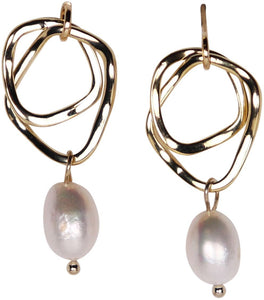 Organic Double Hoop Pearl | Earrings