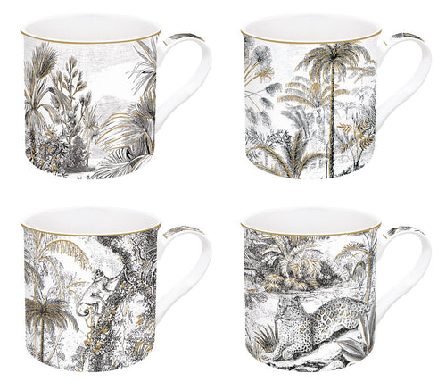 Luxuria I Retro Jungle 4'lü Mug Set I Luxuria