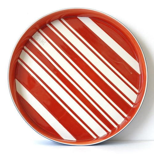 Santimetre I Flat Bowl Stripes Kırmızı Tepsi I Luxuria