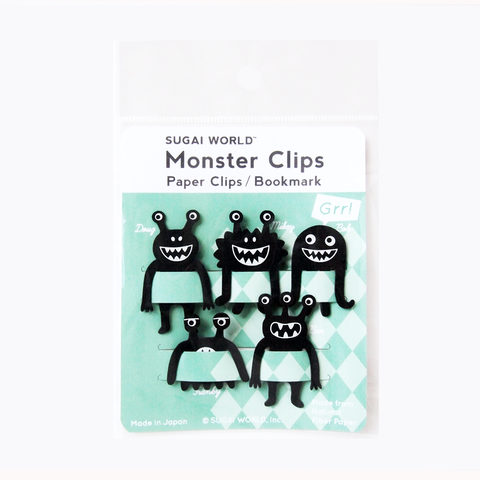 אטבי נייר Monster Clips - שחור-Sugai World-Shoppu