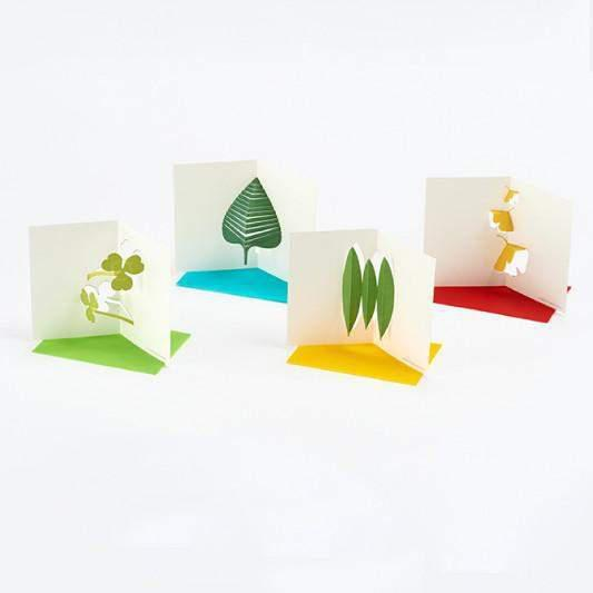 סט כרטיסי ברכה עלים / Good Morning Message Card Set - Leaves-good morning-Shoppu