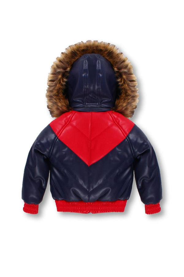 Kids Colorblock Leather Jacket-Navy/Red