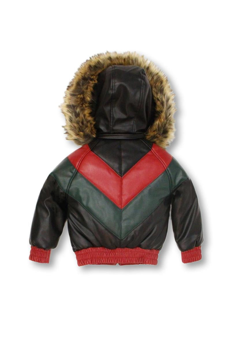 Kids Colorblock Leather Jacket-Red/Green/Black