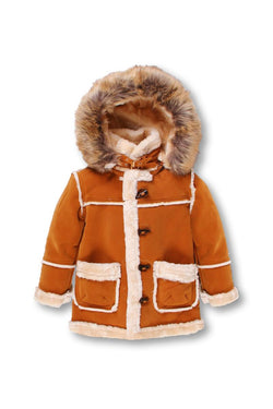Dakoma-Kids Outerwear Mink Fur-Lined Coat W/Fur Hood-Timber