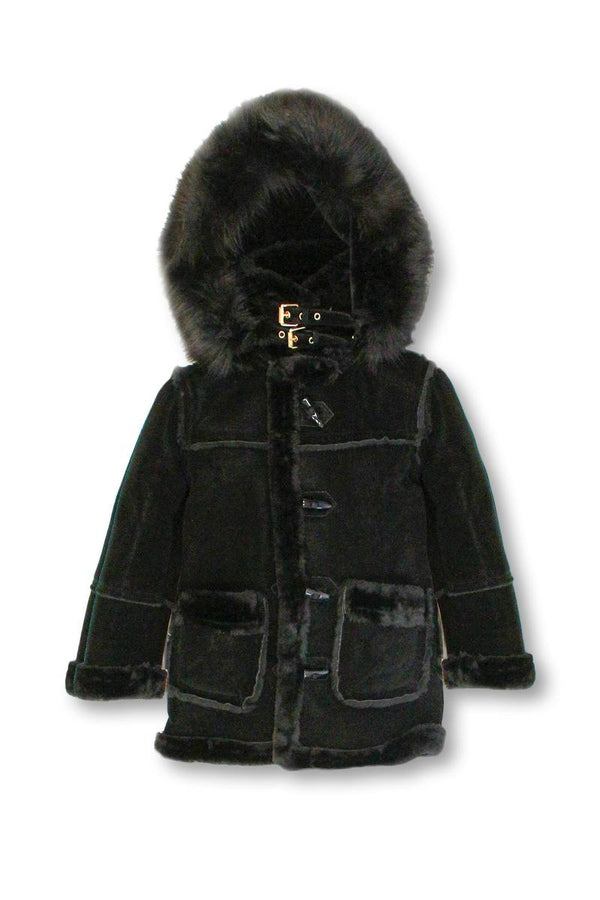 Dakoma-Dakoma-Kids Outerwear Mink Fur-Lined Coat W/Fur Hood-Black/Black