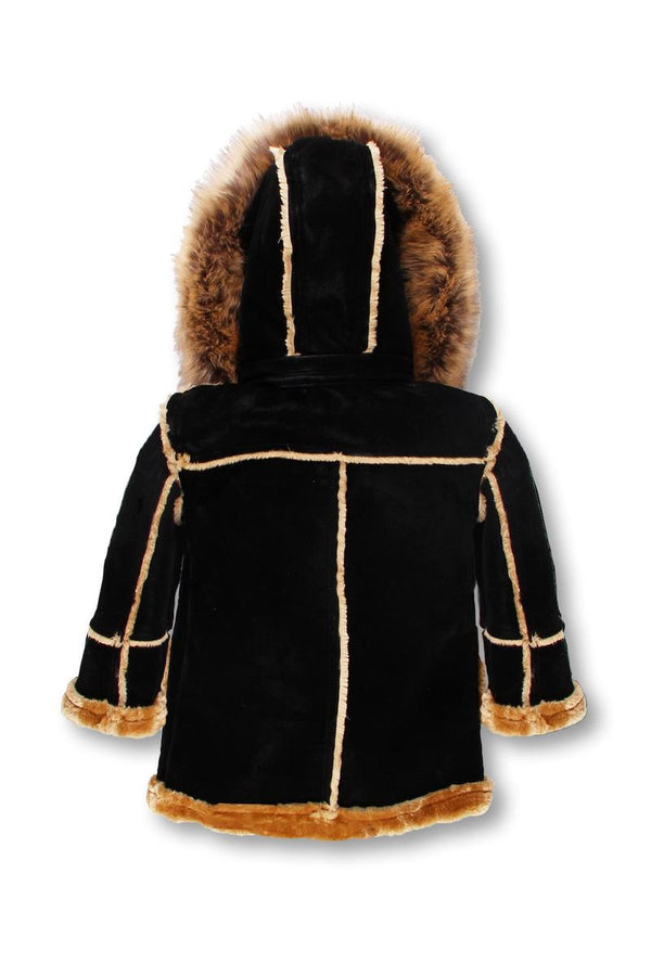 Dakoma-Kids Outerwear Mink Fur-Lined Coat W/Fur Hood-Black/Khaki
