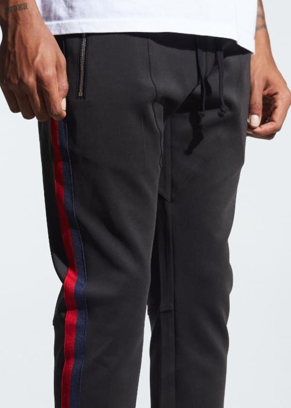 Karter Collection-Rivers Track Pants-Black/Navy/Red