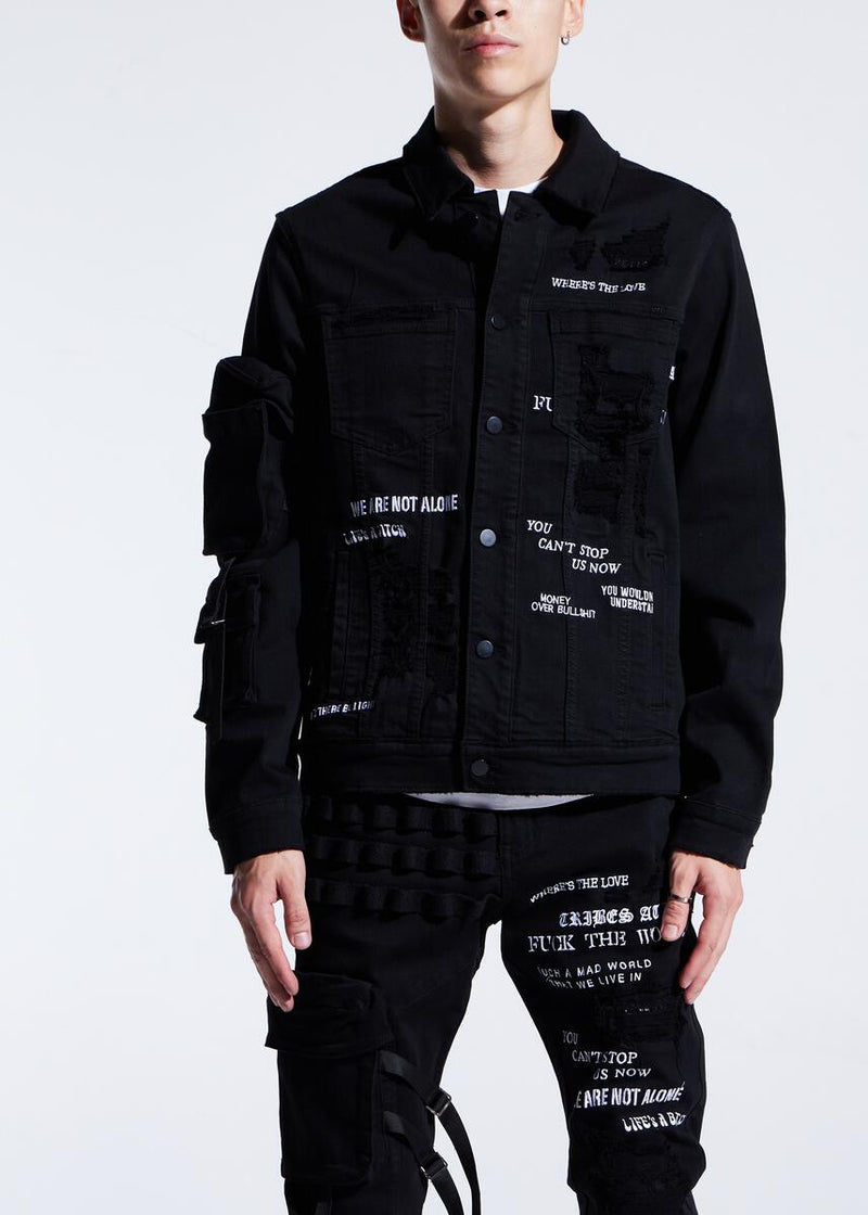 Embellish NYC-Raider Denim Jacket-Black Split